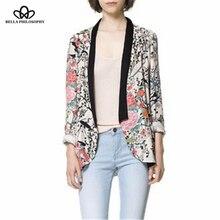 2016 spring autumn wholesale retro vintage Oriental birds flowers floral print long sleeve long blazer jacket real photo