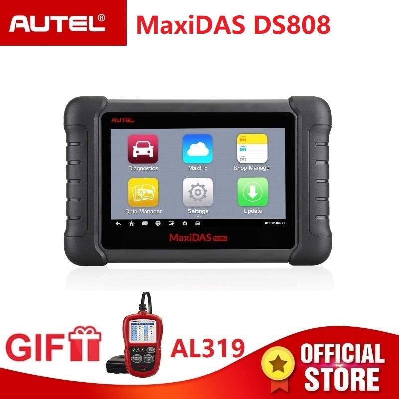 Autel Maxidas DS808 Diagnostic Scanner OBD2 automotive Tool OBDII key coding PK Autel Maxisys MS906 MK808 code reader Gift AL319