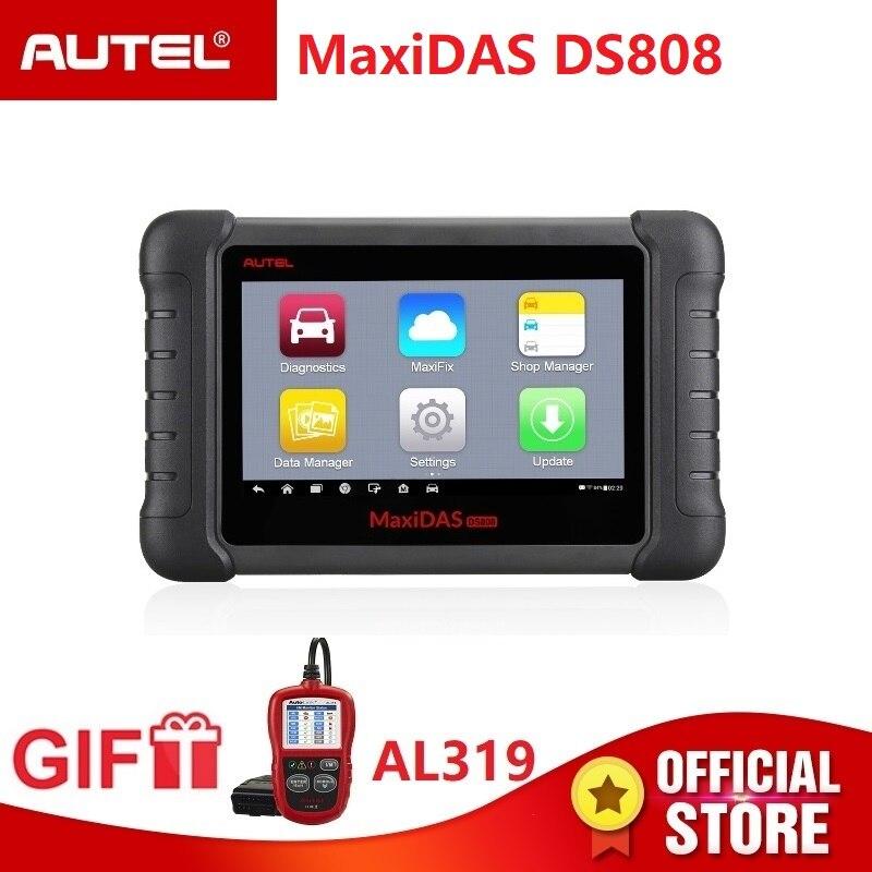 Autel Maxidas DS808 Diagnostica Scanner OBD2 Strumento automotive OBDII chiave di codifica PK Autel Maxisys MS906 MK808 lettore di codice Regalo AL319