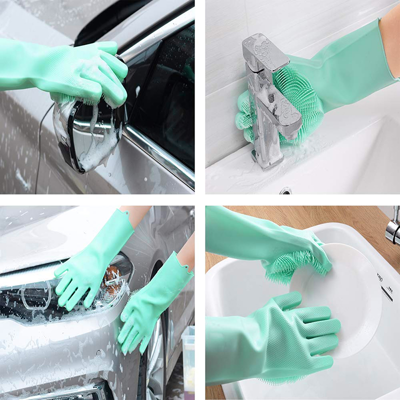 Reusable Magic Silicone Gloves With Cleaning Brush Dish Washing Gloves Kitchen Housekeeping Scrubbing Wash Glove in Household Gloves from Home Garden