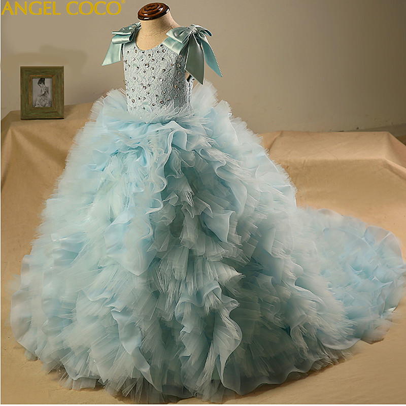 Children's Evening Dress Model Beauty Contest Catwalk Chothing Princess Tail Tutu Stage Carnival Costume For Kids Party Gown