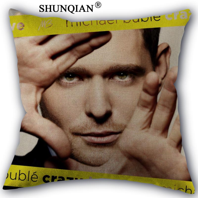 michael buble Pillowcase Cotton Linen Square Zippered Pillow Cover Unique Design Customi ...