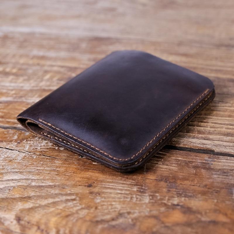 Läder Plånbok för män Små Pengarväska Retro Style Crazy Horse Läder Kreditkort Plånbok Bifold Väskor Mäns Framficka Plånbok