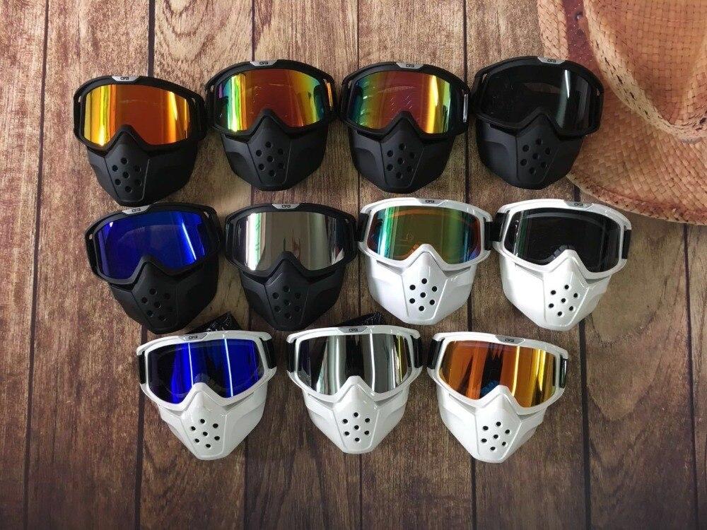 Offres spéciales masque modulaire lunettes détachables et filtre de bouche parfait pour demi-casque moto visage ouvert ou casques Vintage