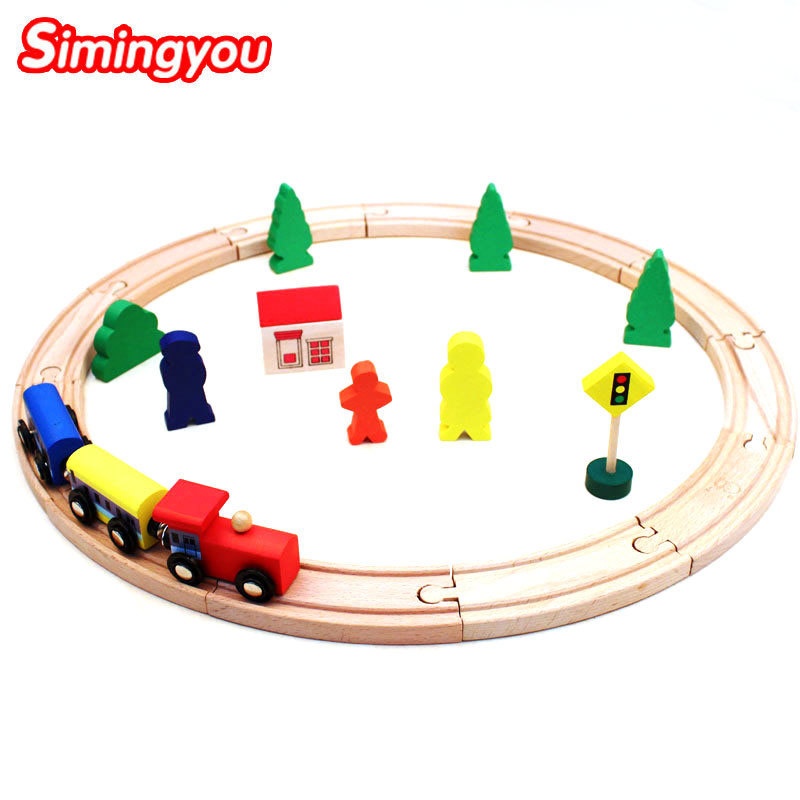 Simingyou Toys Hobbies 25 Pcs Thomas Train Rail Car Character House Traffic Lights Wooden Montessori Toy B40-A-126 Drop Shipping