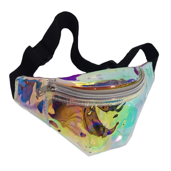 Women Holographic Fanny Pack Laser Pu Leather Belt Bag Fashion Zipper Casual Waist Bag Female Hip Bum Waist Pack holographic belt purse