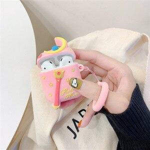 Image 3 - Funda de auriculares con Bluetooth para Airpods 2, accesorios, funda protectora, bolsa, correa de anillo antipérdida, dibujo animado de silicona 3D Sailor Moon