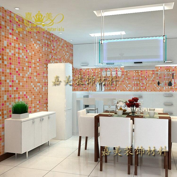 US $6.5  Korea mosaik selbstklebende tapete küche bad wc wasserdichte  starke tapete farbe ausrüstung film stickers 41z-in Tapeten aus  Heimwerkerbedarf ...