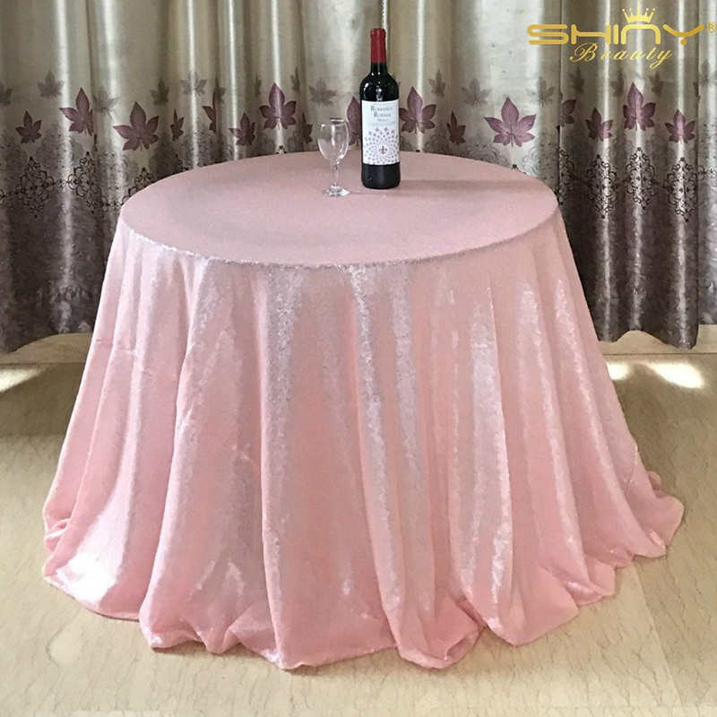 Sequin tablecloth Pink  Shimmer Sequin Tablecloth 96in Round Dining Table Cover 240cm Table cloth for Wedding/Party-x9418