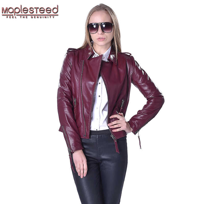 6b136650099 Factory Women's Leather Jacket For Women Genuine Sheepskin Leather Coat 5  Colors Slim Short Autumn Spring