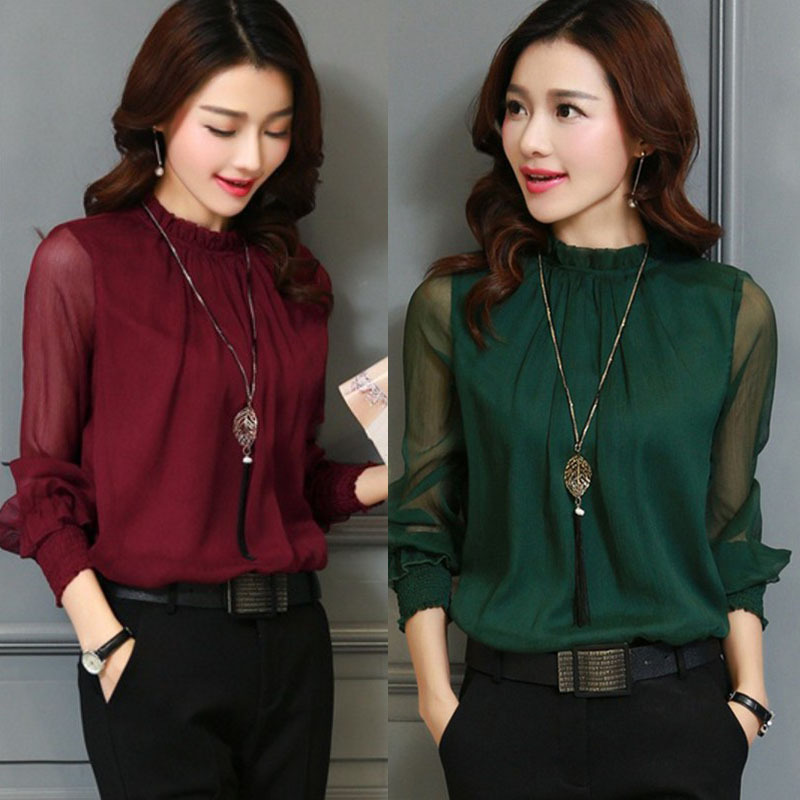 Plus Size 3XL Spring Autumn Tops Women Blouses Office Mesh Chiffon Shirt Casual Long Sleeve Slim Shirts Sweet Stand Neck Blouse