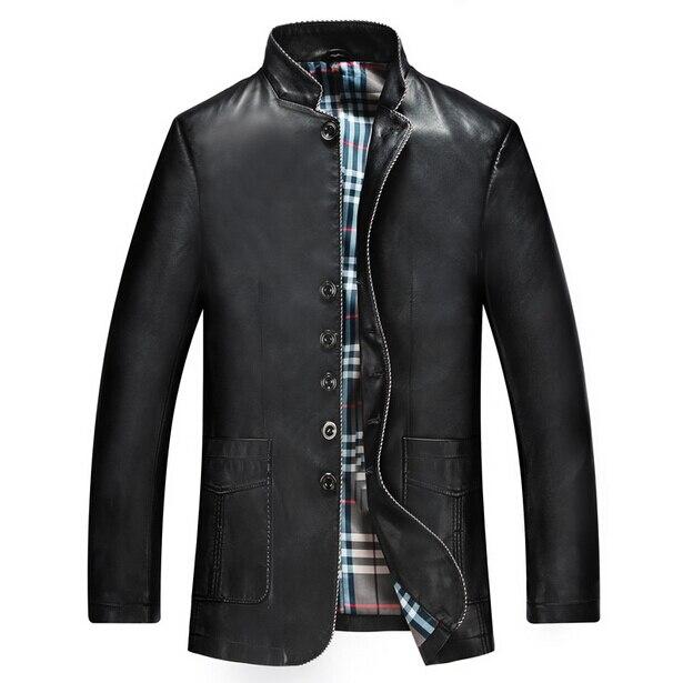 2016 New Men's Suit Leather Jacket Man Coat Mens Fashion Designer Slim Leather Jackets For Men Brown Color Plus Size