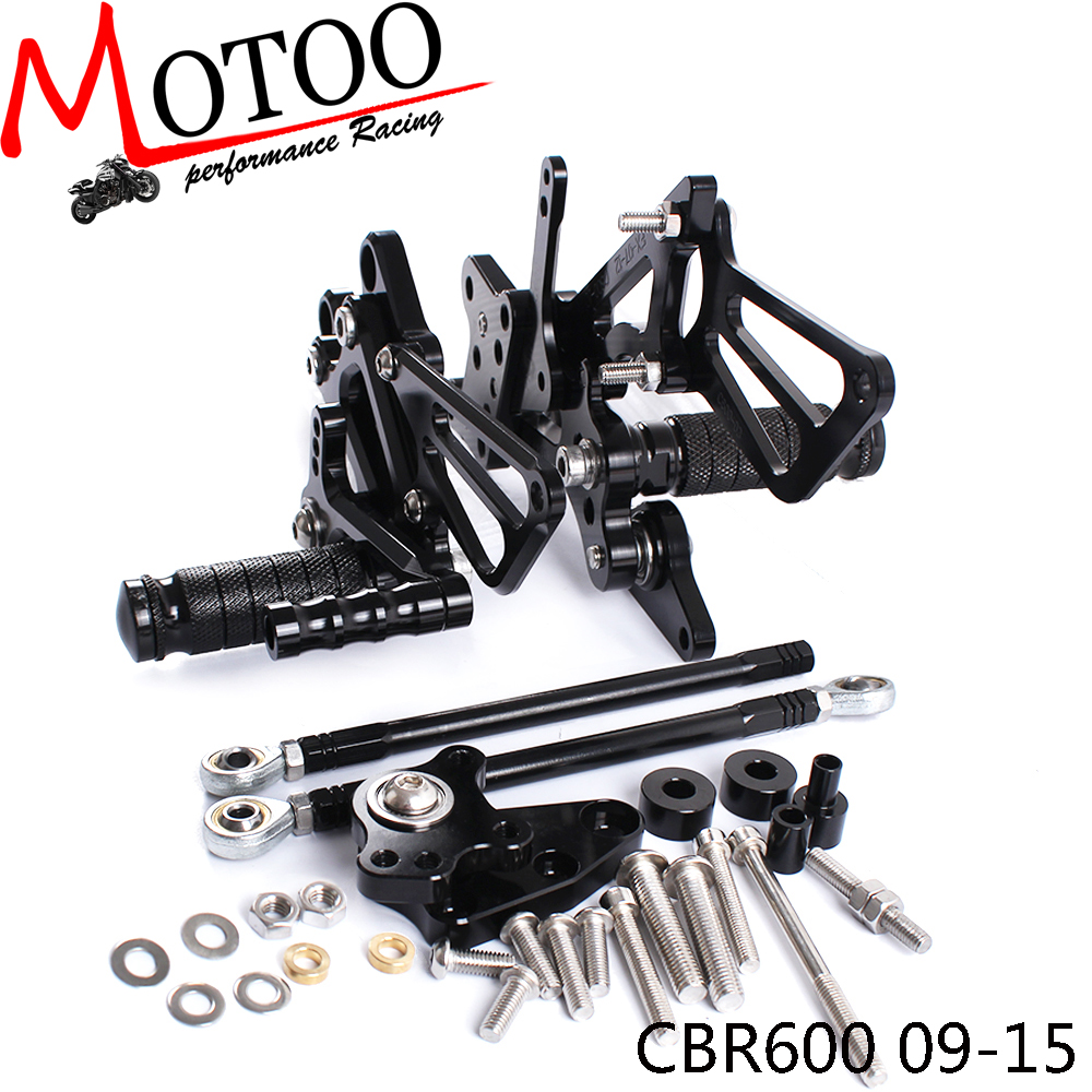 Motoo Full CNC Aluminum Motorcycle Adjustable Rearsets Rear Sets Foot Pegs For HONDA CBR600RR ABS 2009