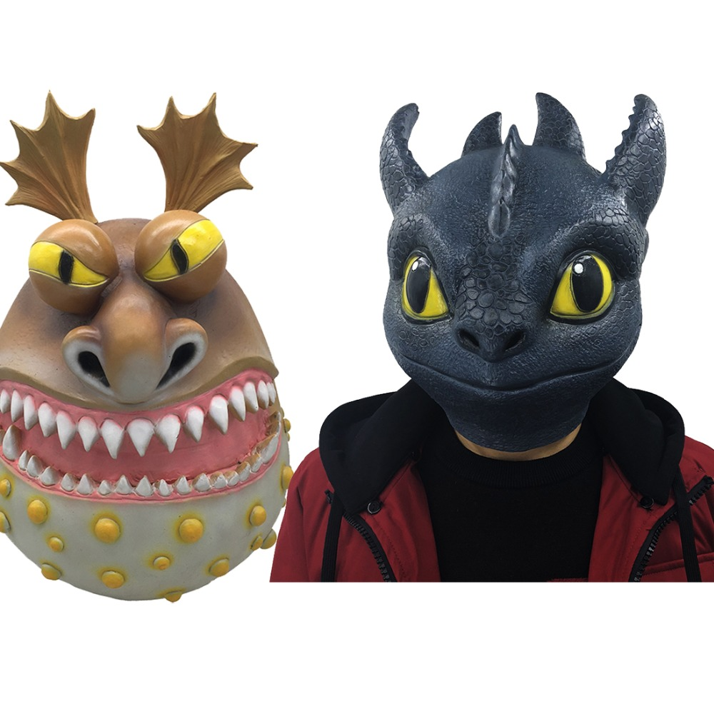 Cosplay How to Train Your Dragon Toothless Night Fury Gronckle Terrible Full Head Mask Adult Halloween Latex Masks Costume Props