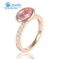 Rose Gold Rings With Pink CZ Crystal 925 Sterling Silver Rings For Women GW Fine Jewelry