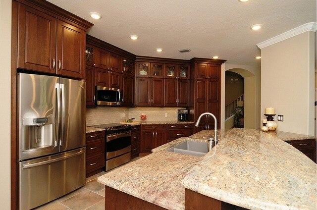2017 tradicional hecho gabinetes de cocina de madera sólida ...