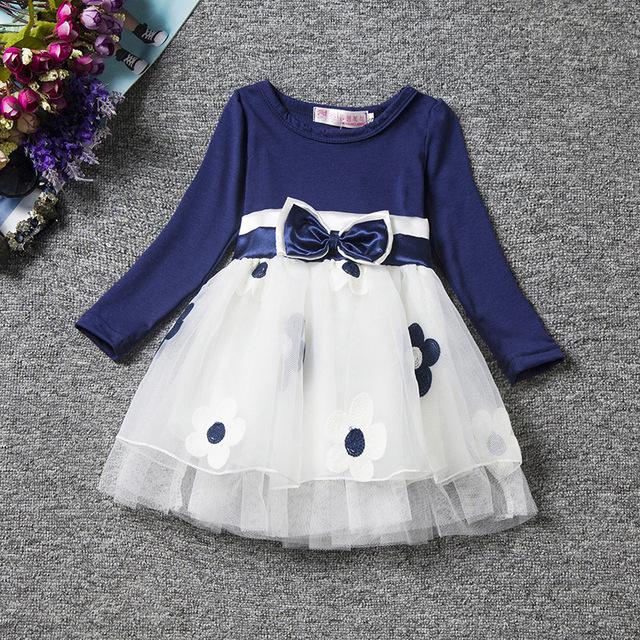 Primavera Vestido de Los Niños Niñas de Algodón de Manga Larga clase Flower Princess Tutu Vestidos 0-2 Años