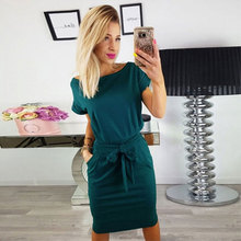 Solid O-neck Short Sleeves Lacing Dresses Women Casual Pockets Simple Dress Summer Ladies Fashion Breathable Dress Vestidos New