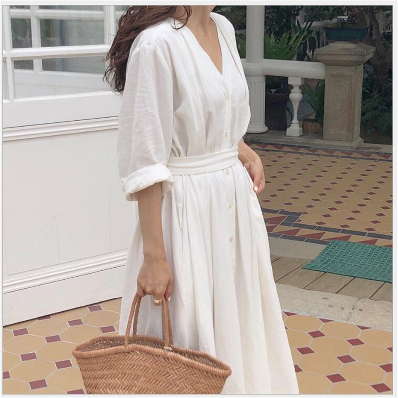 New 2019 Women Dresses Spring Summer Cotton Linen Ladies Pleated Long White Dresses V Neck Lace Up Bow Vestidos De Verano R135