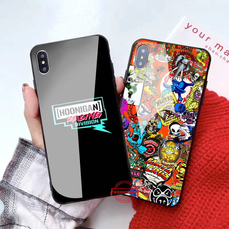 WEBBEDEPP Sticker Bomb eat sleep JDM Glass Phone Case for Apple iPhone XR X XS Max 6 6S 7 8 Plus 5 5S SE in Fitted Cases from Cellphones Telecommunications