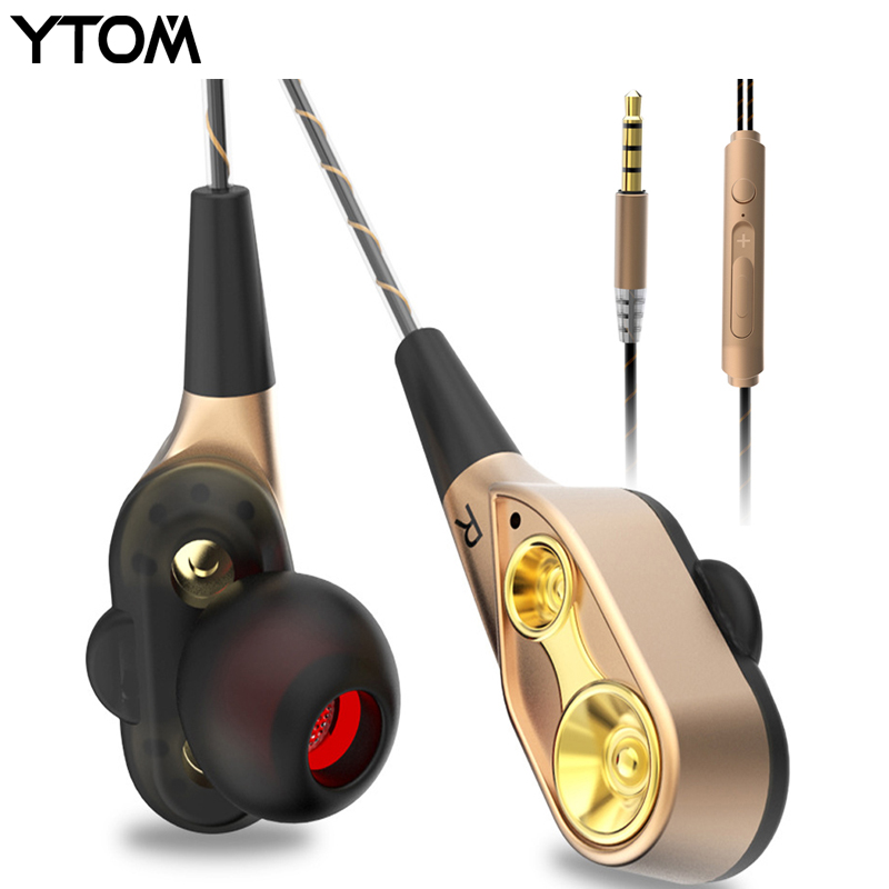 YTOM Special Edition Earphone with Microphone 3.5mm HD HiFi In Ear Monitor Bass Stereo dual driver Earbuds headphons for Phone tebaurry tb6 dual unit driver earphone wired hifi stereo earphone for phone iphone 4 speakers super bass headset with microphone