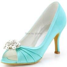 Frau Schuhe High Heel Mint Größe 4 8 9 Satin Strass Brautjungfer Braut frauen Hochzeit Brautschuhe Party Kleid PumpsEP2094AE