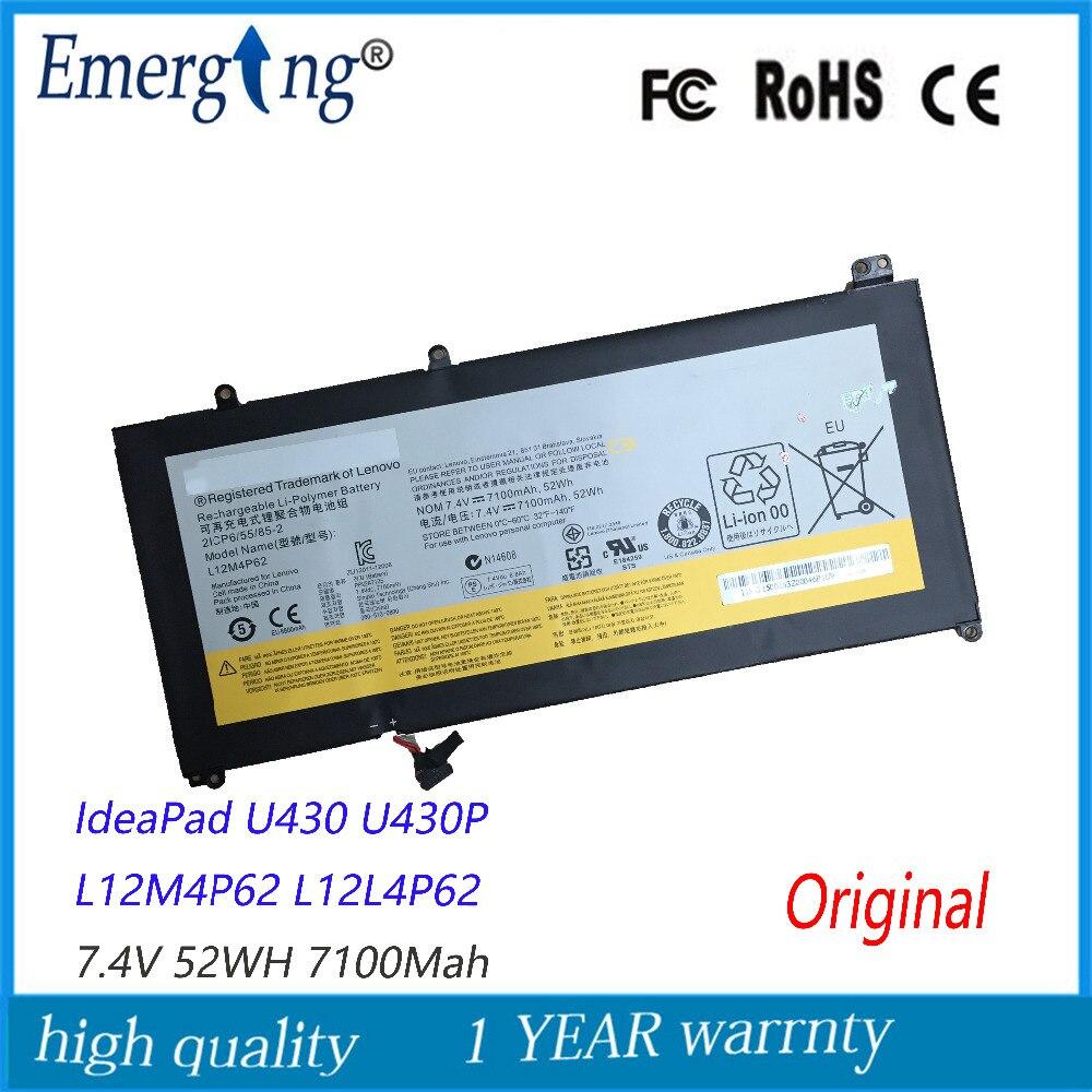 7.4V 52Wh New Original Laptop Battery for Lenovo Ideapad U430 L12M4P62 L12L4P62 U530 Touch