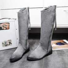 Women's Winter Gradient Color Double Knight Boots Brand Designer Genuine Leather Tall Knee High Boots Flats Comfortable Shoes