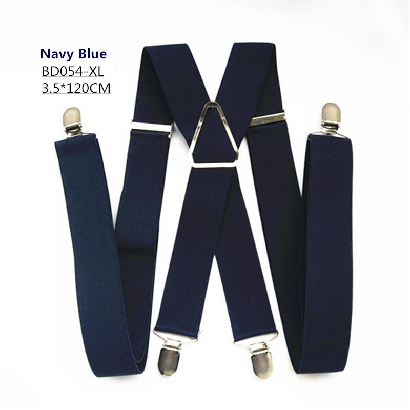Одноцветные подтяжки унисекс для взрослых, мужские XXL, большие размеры, 3,5 см, ширина, регулируемые эластичные, 4 зажима X сзади, женские брюки, подтяжки, BD054 - Цвет: Navy-120cm