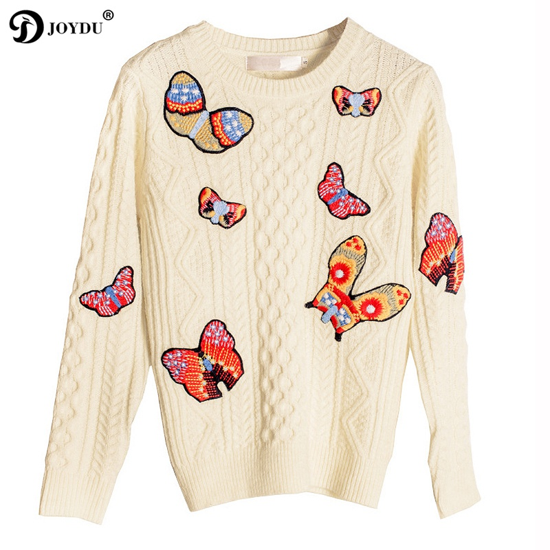 JOYDU 2018 Newest Designer Pullover Twist Sweater Women Fashion Winter Butterfly Embroidery Basic Casual Knitted Sweaters Jumper
