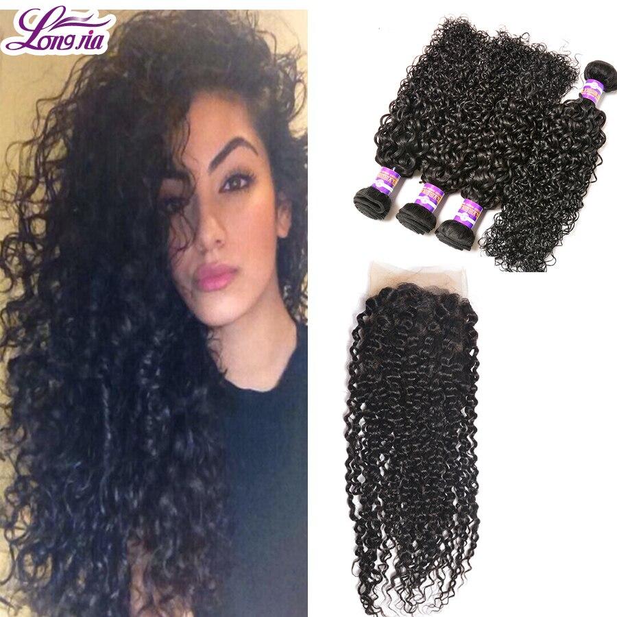 Malaysian Curly Hair 4Bundles With 4x13Closure 7A Grade Human Hair Weft Mink Brazilian Hair Kinky Curly Human Hair Extensions