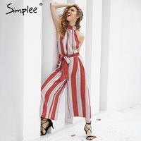 Simplee Off Shoulder Stripe Sexy Jumpsuit Romper Causal Summer 2017 Sleeveless Overalls Elegant Beach Playsuit Women
