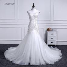 Vestidos De Novia Mermaid düğün elbisesi derin yuvarlak yaka Şapel Tren Gelin Düğün Dantel Boncuk Kısa Kollu Artı Boyutu