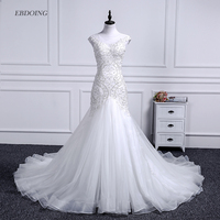 Vestidos De Novia Mermaid Wedding Dress Scoop Neckline Chapel Train Bride Wedding With Lace Beading Short Sleeves Plus Size