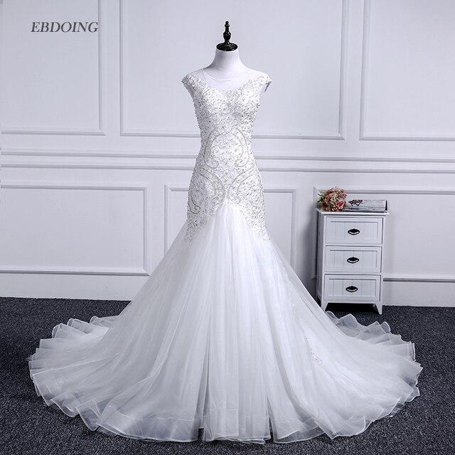 Vestidos de novia sereia vestido de casamento colher decote capela trem noiva casamento com renda miçangas mangas curtas plus size