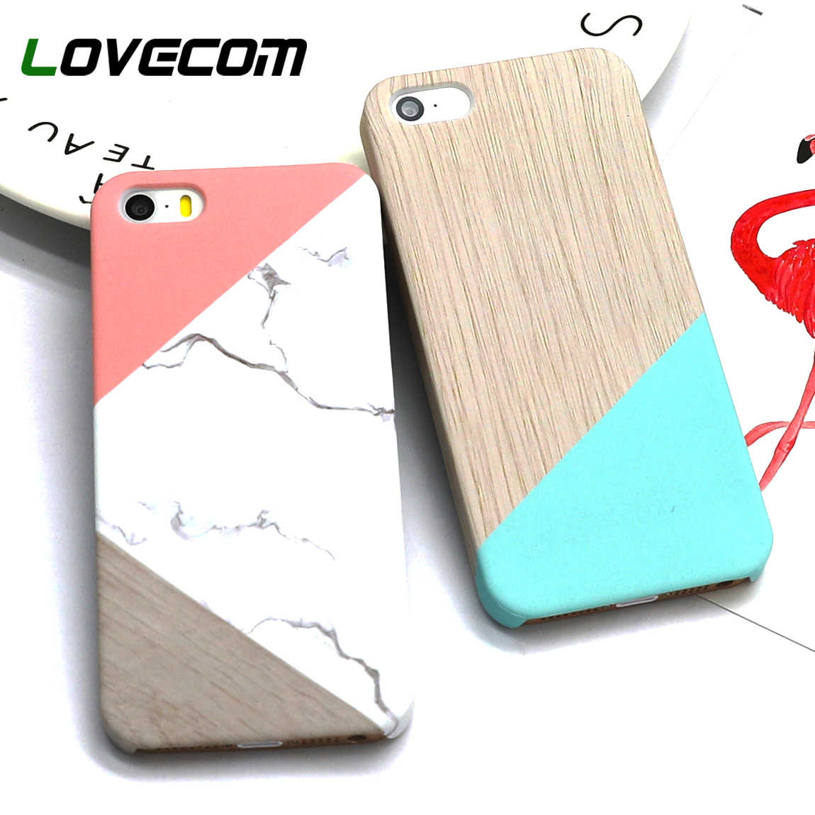 LOVECOM Geometric Splice Pattern Marble Hard PC Marble Phone Cases For iPhone XS Max XR 5 5S SE 6 6S 7 8 Plus X Case Back Cover