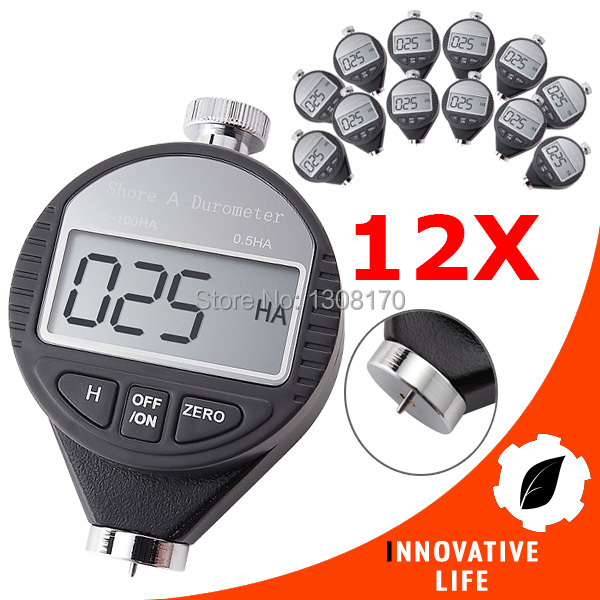 12 pieces x Digital Hardness Meter Durometer 0~100HA Dial Scale Plastic Rubber Tire Tyre Leather Shore A Hardness Tester  цены