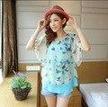 New Arrival Summer Shirts Women Tops Sweet Floral Chiffon Women Tops Batwing Butterfly Chiffon Shirt Feminine Blusa Camisa