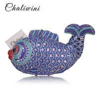 Chaliwini Multi blue Crystal Diamond Women big Fish Evening Clutch Bag Bridal Mini Metal Handbag and Purse Wedding Clutches