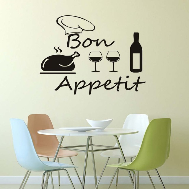 Bon Appetit Quotes Wall Stickers Food Red Wine Cups Kitchen Decor Diy Vinyl  Adesivo De Paredes