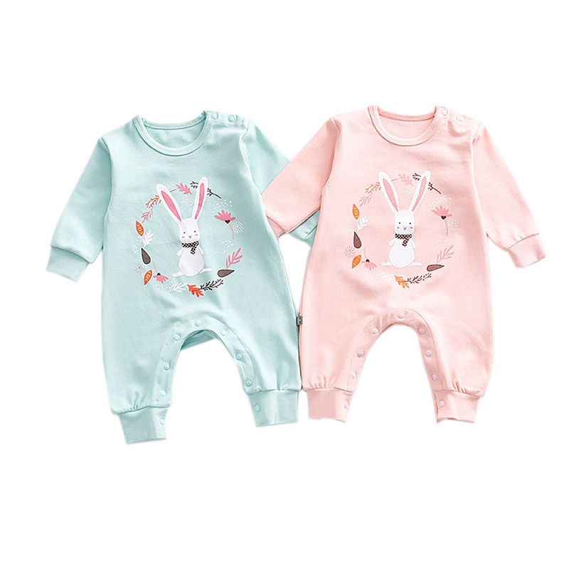 Baby Girl Clothes Newborn Clothes Infant Cotton Girls Jumpsuits Cute Rabbit Print Baby Romper Long Sleeve Costumes 0-2Y stylish scoop neck half sleeve argyle print women s romper