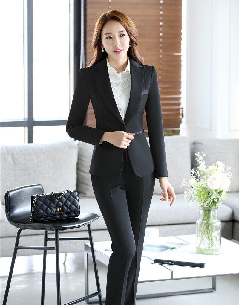 €42.05 7% de DESCUENTO|Blazer negro Formal para mujer trajes de trabajo con pantalón y chaqueta conjuntos elegantes Pantsuits uniforme de oficina