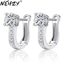 S925 Silver Hoop Earrings fashion wild Ms. inlaid crystal earrings rhodium hypoallergenic jewelry for women