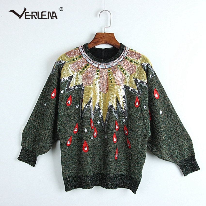 d42a1082d3a Detail Feedback Questions about Drops Rhinestone Batwing Sleeve Green  Sweater Women Embroidery Sequin Sweaters Runway Boho Vintage Jumper  Polluver Winter ...