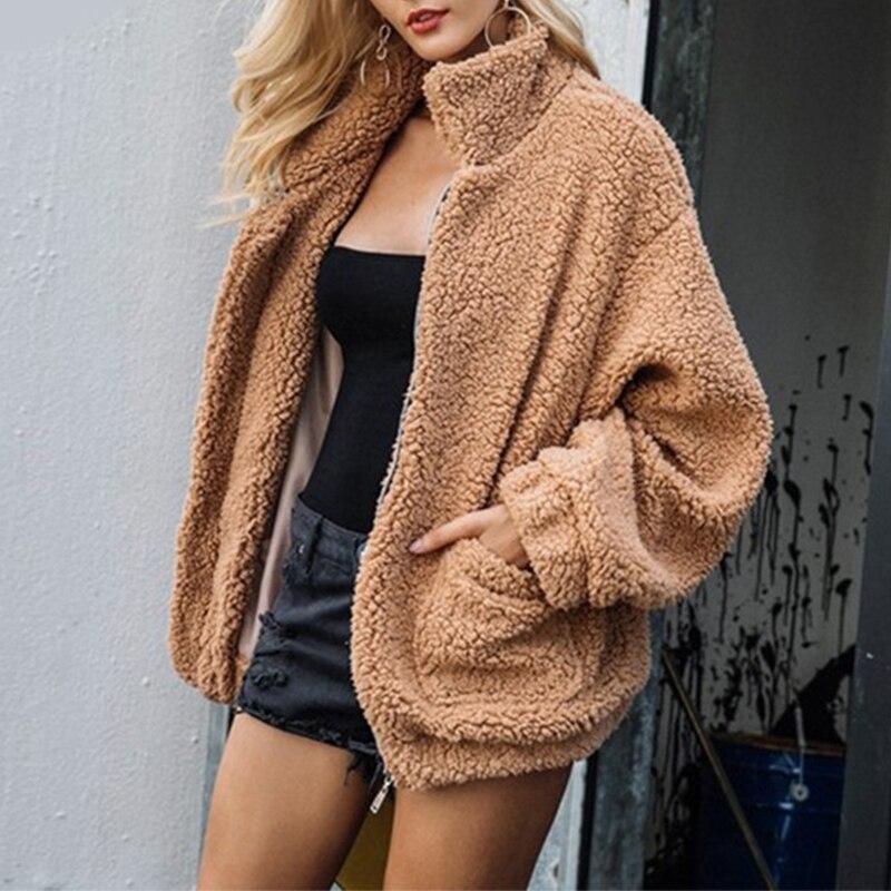 5f56989f06567 2018 Winter New Arrival Women Fashion Fluffy Faux Fur Warm Coat Lady teddy  Coats Shaggy Jacket Zipper Outwear Jackets PC306