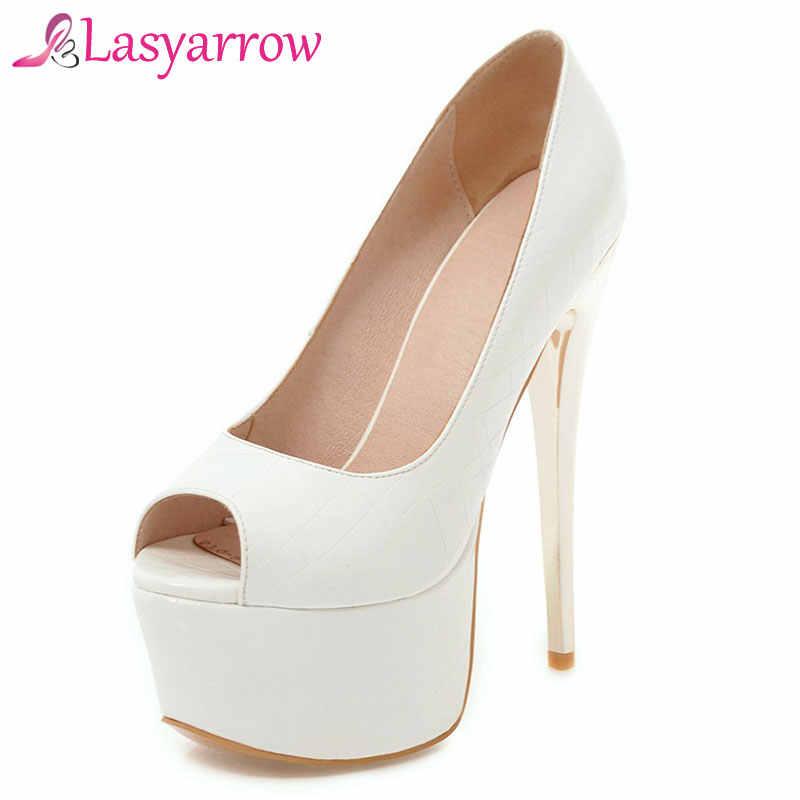 Lasyarrow Marka Ayakkabı Kadın Pompaları 16 CM Yüksek Topuklu Peep Toe platform ayakkabılar Büyük Boy 30-48 Bayanlar Gladyatör parti ayakkabıları RM317