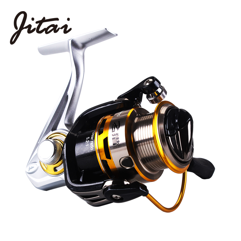 JITAI Metal Spinning Fishing Reel Shallow Metal Spool Thin and Light Body with 5.2:1 9 + 1 BB Left / right Interchangeable