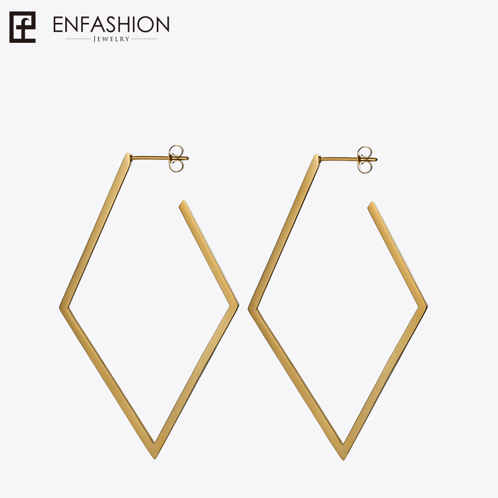 Enfashion Jewelry Geometric Big rhombus Earrings Gold color Stainless steel Long Drop Earrings For Women Earings EB171035 pair of chic rhombus faux crystal earrings for women