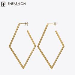 Enfashion Jewelry Geometric Big rhombus Earrings Gold color Stainless steel Long Drop Earrings For Women Earings EB171035