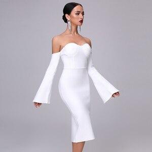 Image 4 - 2020 חדש סתיו נשים תחבושת שמלה אלגנטי לבן שחור שמלה סקסי אבוקה שרוול Midi סלבריטאים מסיבת חג המולד שמלת Vestidos